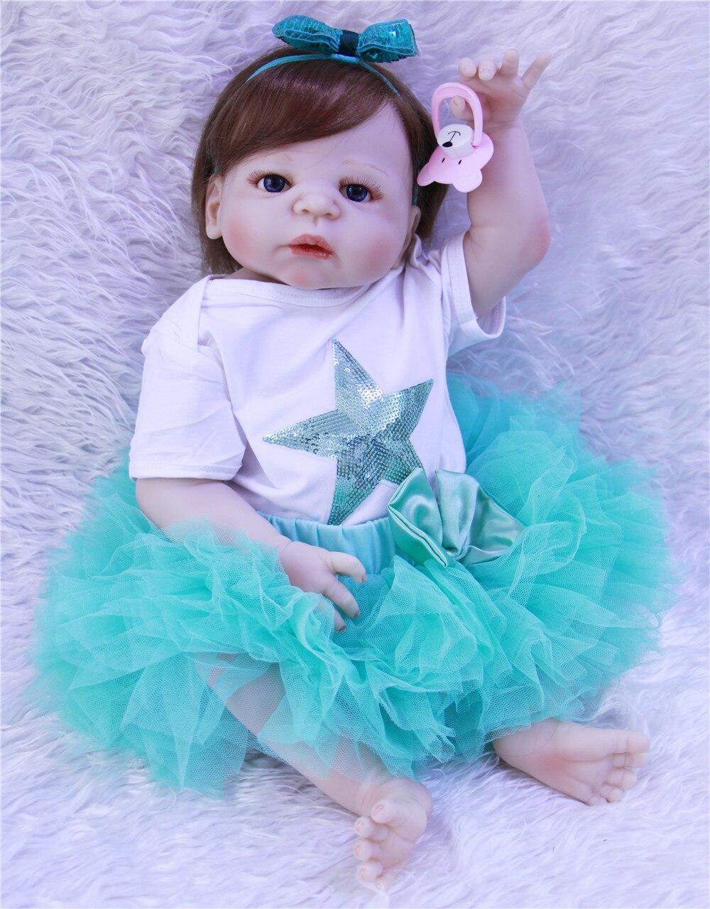 DollMai doll reborn princess girl full silicone body reborn babies alive 23rooted hair can bathe bebes reborn menina bonecas