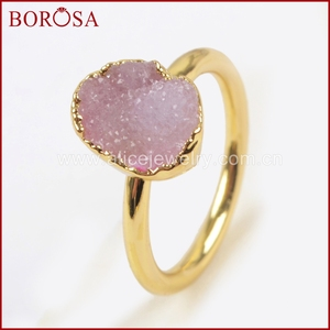 Image 4 - BOROSA צבעים מעורבים אלגנטיים זהב צבע קשת צורה חופשית Druzy טבעות לנשים, אופנה טבעות מפלגה תכשיטי Drusy כמתנה G1450