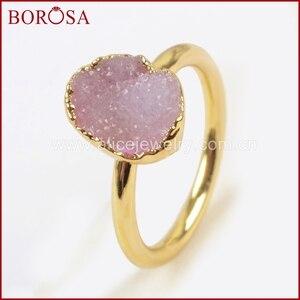 Image 4 - BOROSA Elegant Gemischte Farben Gold Farbe Freeform Regenbogen Druzy Ringe für Frauen, mode Drusy Schmuck Partei Ringe als Geschenk G1450