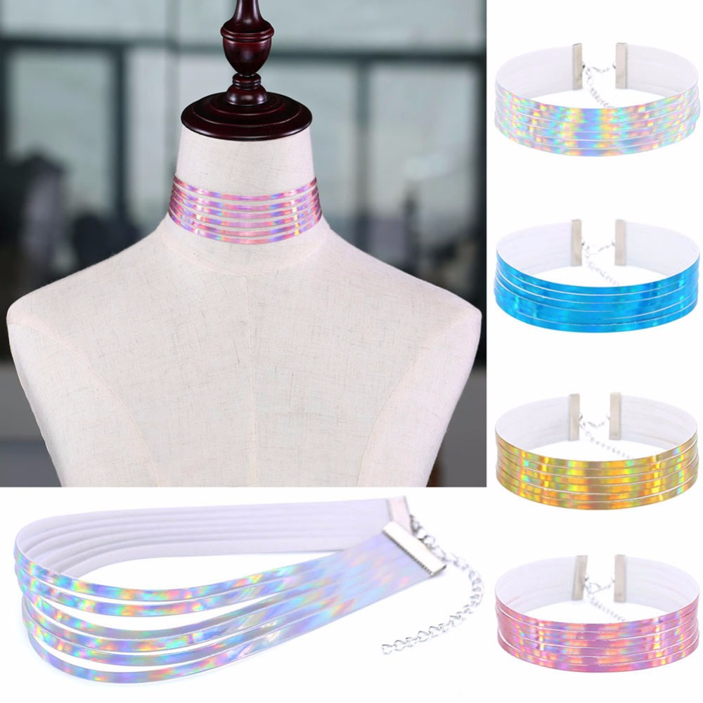 Multilayers PU Leather Rainbow Choker Necklace for Women Holographic Chokers Harajuku Anime Laser Collar Chocker Jewelry #241007