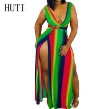 HUTI Sexy Deep V Neck Rainbow Printed Striped Maxi Dress Women Elegant Summer High Split Vintage Long Dress Vestidos Robe Femme striped trim cut out back high split maxi dress