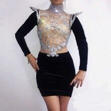 Seksi kristaller kadın elbise DJ DS kostüm şarkıcı dansçı parti performansı gece kulübü bar modeli podyum see through tek parça elbise