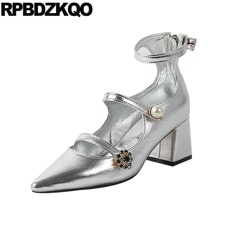 Zipper Metallic Crystal Pearl Rhinestone Pumps Pointed Block Heels Shoes For Women Medium Ankle Strap Strappy Mary Jane SilverZipper Metallic Crystal Pearl Rhinestone Pumps Pointed Block Heels Shoes For Women Medium Ankle Strap Strappy Mary Jane Silver