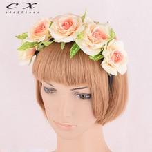 CXADDITIONS WomenS Big Rose Flower Crown Wedding Headband Bohemian Floral HairBands Headwear Hair Accessories