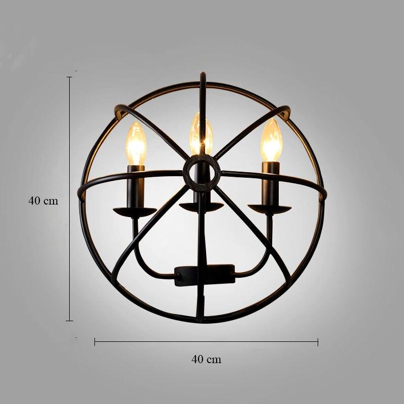 Stile industriale lampada Da Parete Comodino Americano luci Con E14 Led Candela Lampadine Creativo Turtle Shell Lampada Da Parete per Corridoio Cafe Bar - 3