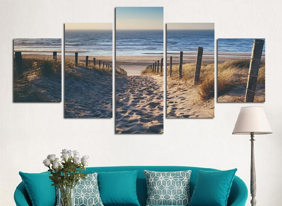 Wholesale 5 Panel Abstract Cuadros Art Canvas Beach