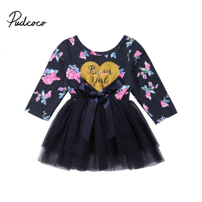 0-24 Mt Neugeborenen Baby Mädchen Prinzessin Kleid Langarm Floral Tutu Tüll Patchwork Formal Pageant Party Kleider Geburtstag Kleidung