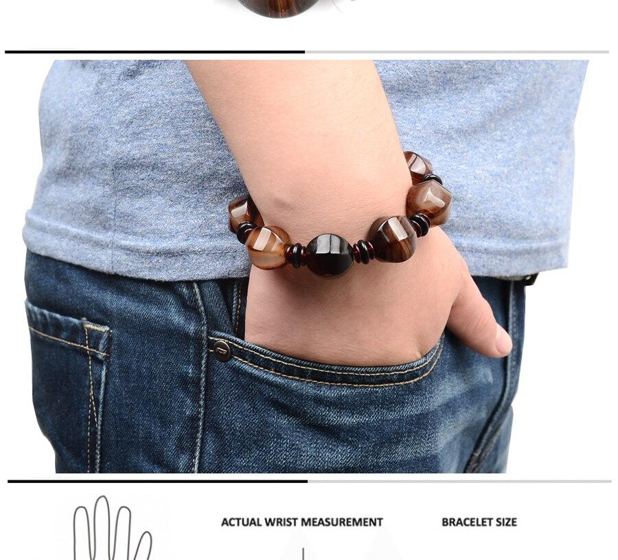 Irregular Natural agate bead Charm Round Bead Elastic Bracelets Tibetan Men Wrist Jewelry Charm Beaded Daily accessories For Men (1)
