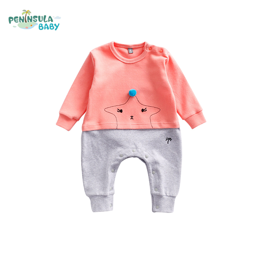 Funny Newborn Baby Girls Clothes Cute Ball Embroidery Cartoon Star Cotton Baby Rompers Patchwork Long Sleeve Infant Jumpsuits cotton baby rompers set newborn clothes baby clothing boys girls cartoon jumpsuits long sleeve overalls coveralls autumn winter
