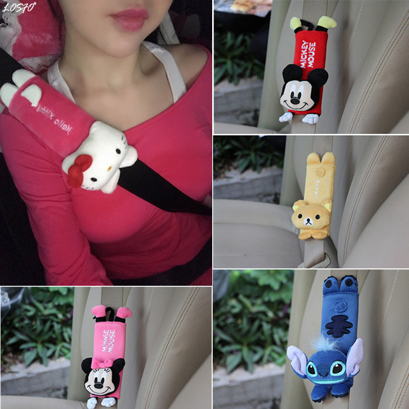 LOSFO 1 Pair cute Cartoon Car Sefety Seat Belt cover Child Seat belt Shoulder Pads Protection Plush Padding Auto Accessories