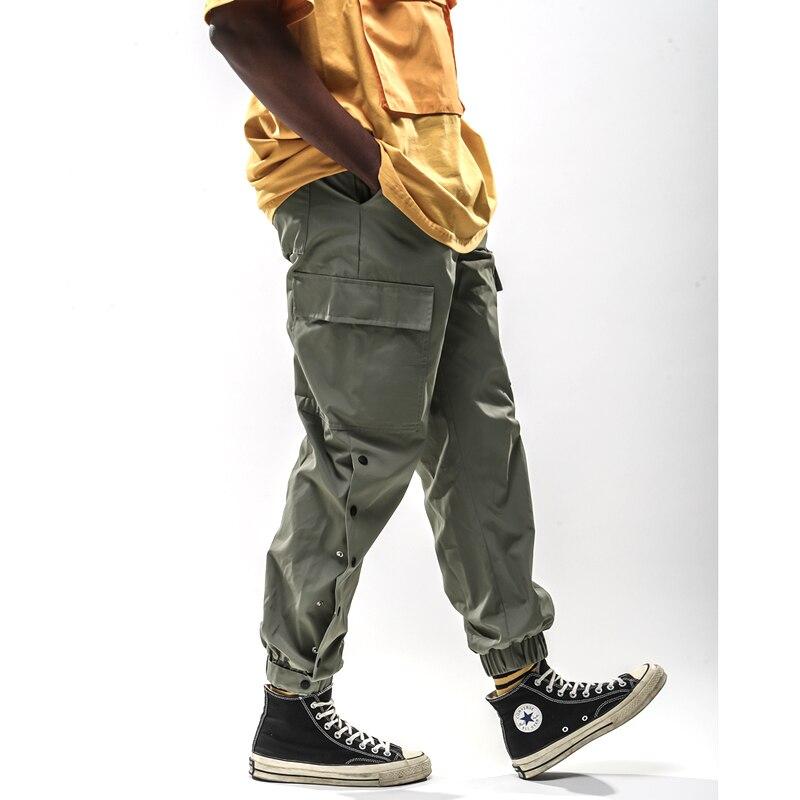 2019 Pockets Bottoms  Button design Harem Pants Mens Casual Joggers Baggy Trousers Harajuku Streetwear Hip Hop Sweatpants