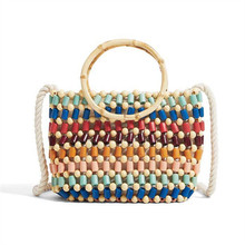 crossbody Beading bags for women purses handbag colorful wood shoulder bag round handle 2019 new Fashion drop shipping