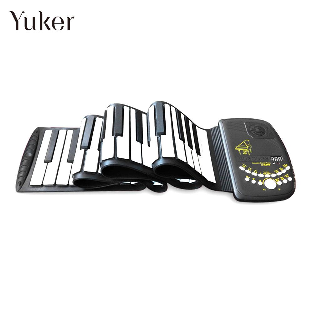 88 Key Electronic Piano Keyboard Organ Silicon Flexible Roll Up Piano with Loud Speaker Wish US Plug D88K10 Waterproof 128Tone d88k10 silicon 88 key gift roll up piano electronic organ flexible beginner electronic keyboard piano adult