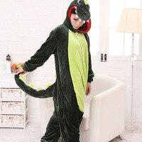 Green Dinosaur Stitch Pajamas Fashion Sleepwear Unisex Flannel Hoodie Pajama Sets Cute Cartoon Character Winter