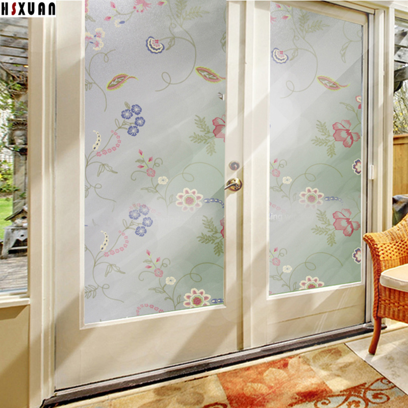 80x100cm Window Privacy Film Frosted Static Clings Decorative Flower  Stickers Sliding Glass Door Hsxuan Brand 800307