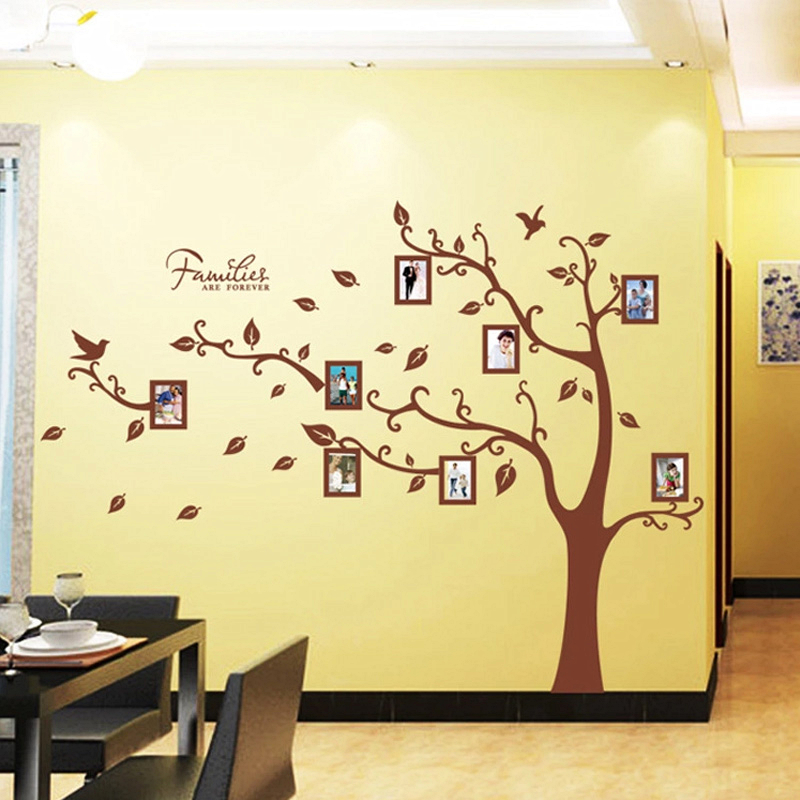 Picture photo frames brown tree wall stickers living room for Diy family tree wall mural