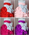 2015 New Girls Party Dress , Bow Flower High Quality Dresses , cotton and silk size 90-120, FREE SHIPPING