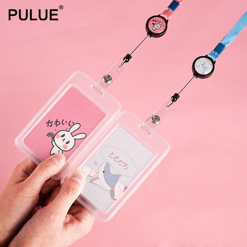 Work-Card-Holders Neck-Rope-Strap Employee-Name Transparent Stretchable Student Cute