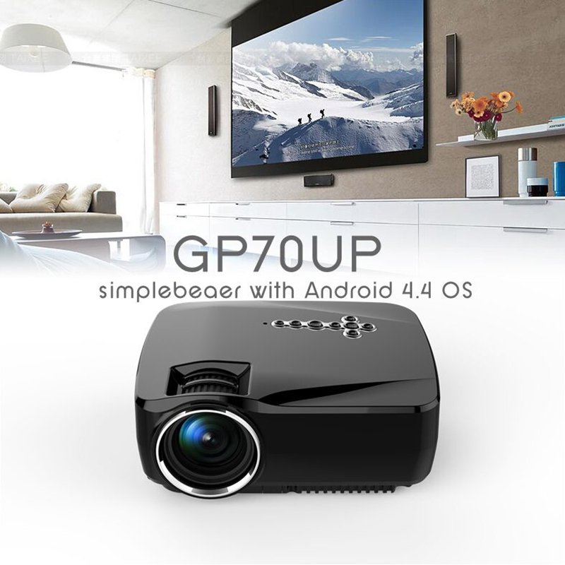 Android 4.4 Wifi Bluetooth Mini LED Portable Projector Home Theater Projector 1200Lumen Support Miracast Airplay AC3 Projector стоимость