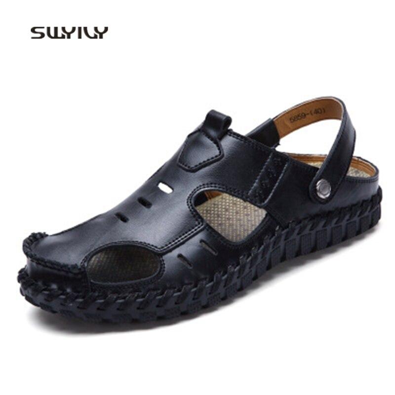 SWYIVY Hommes Aqua Sandales En Cuir Véritable Respirant Chaussures de Plage 2018 Nouveau Été Faits À La Main Non-slip Mâle Doux Patauger Pantoufles