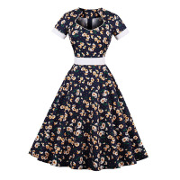 Sisjuly Vintage 1950s Floral Print Dark Blue Strapless Dress Summer Female Hollow Out Bowknot Sashes Party