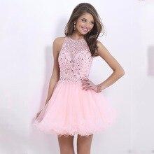 Freies Verschiffen Rosa. Klasse Graduation Kleider Mode sexy kurze Heimkehr Kleid Günstige Kristall Mini Prom Kleider