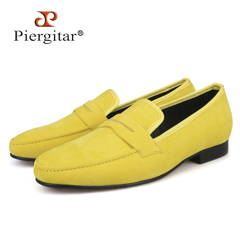 Piergitar 2019 British style Handmade Men Velvet Casual Shoes Men Penny Loafers Party and Banquet Male