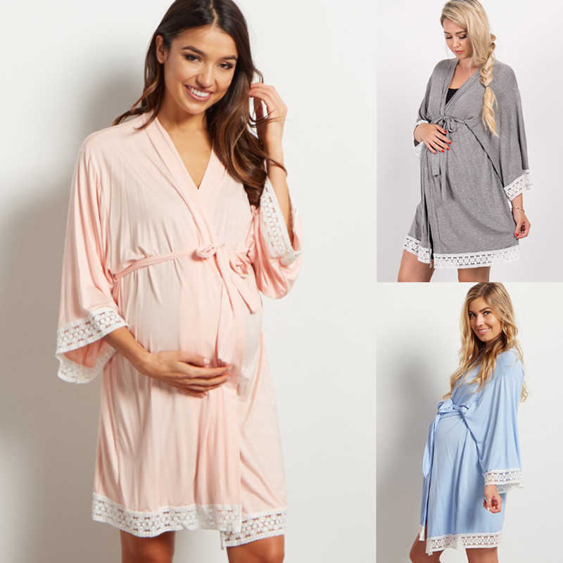 Kris maternity robe /& nightie Breastfeeding set Labor delivery gown Blue hospital robe Nursing nightie Blue birthing gown Pregnancy gown
