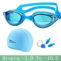 Gafas de natación de miopía profesional de silicona impermeable sombrero piscina natacion gorras de natación auriculares arena gafas de natación gafas