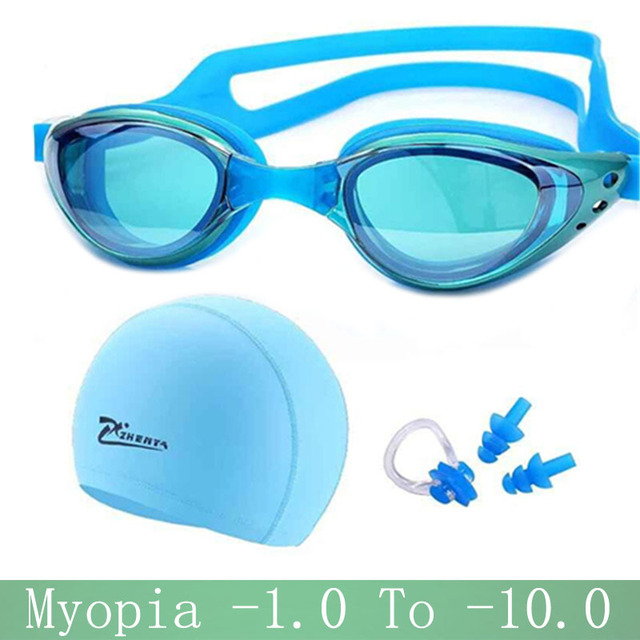 05f93de199 Gafas de natación de miopía profesional de silicona impermeable sombrero  piscina natacion gorras de natación auriculares