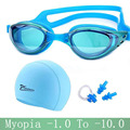 Myopia Swimming goggles professional Silicon Waterproof hat piscina natacion Swimming caps earplug arena glasses Swim eyewear