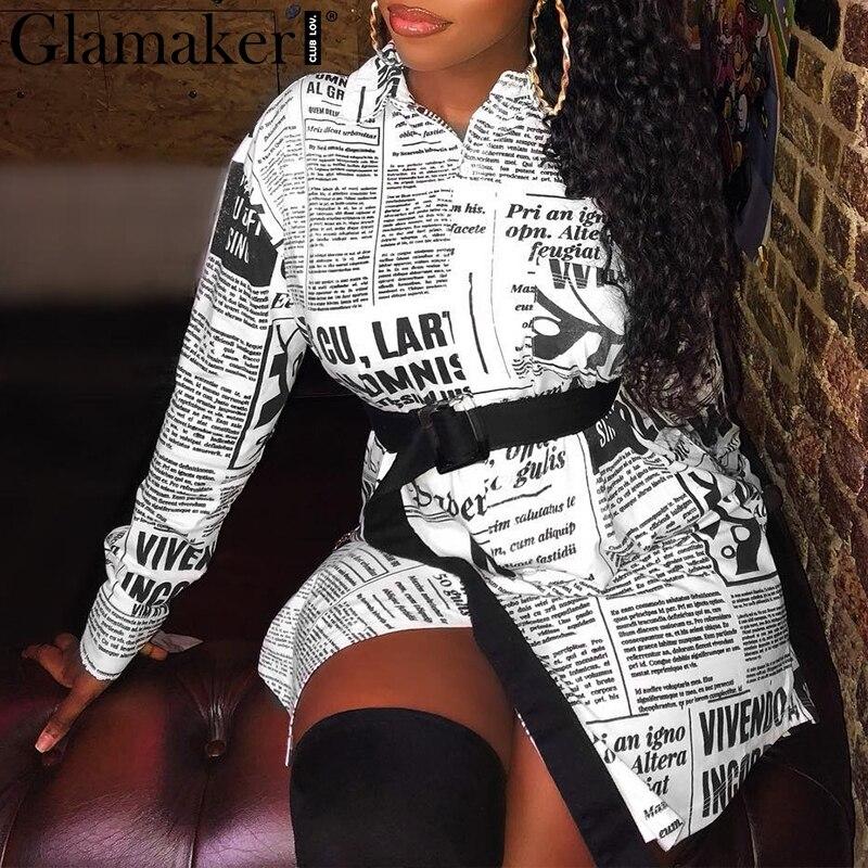 Glamaker газетный принт буквенная блузка рубашка женская с длинным рукавом Сексуальная винтажная женская блузка Белая Летняя элегантная офисн...