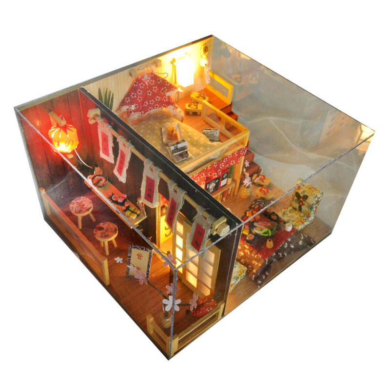 Miniature Japanese Style Dollhouse Cherry Blossoms Furniture Kits DIY Wooden Dolls House LED Lights Birthday Christmas Gift