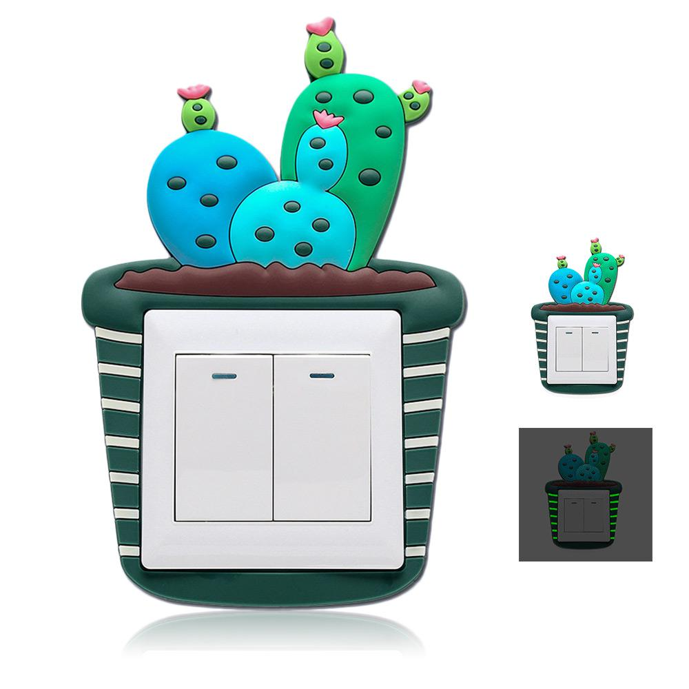 Dropwow Cute Cartoon 3d Cactus Fluorescent Wall Silicone On Off - Vinyl-decals-to-decorate-light-switches-and-outlets
