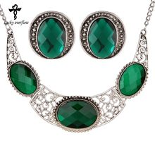 Hot Big Stone Green Blue Red Jewelry Sets Antique Silver Crystal Rhinestone  Hollow Necklace Earrings for Women Bohemian Jewelry 745b9c6f91a3