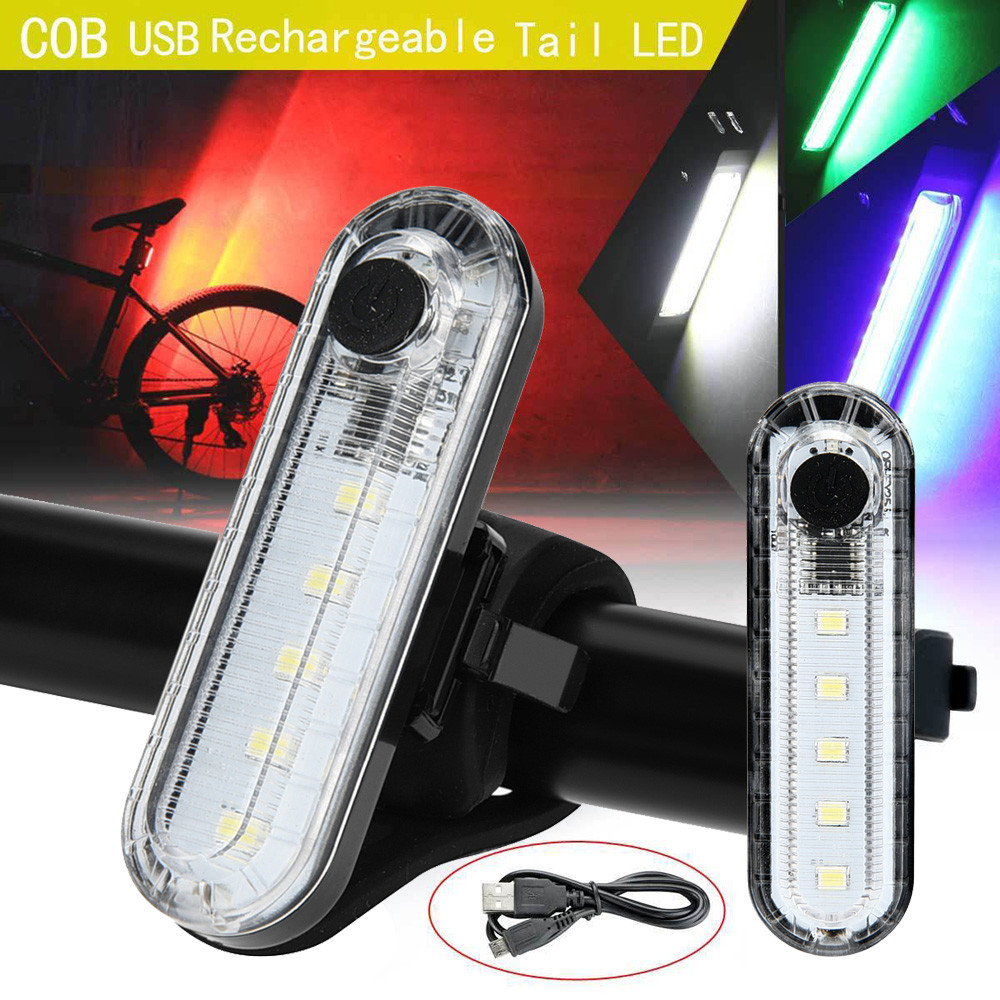 USB Rechargeable Bike Bicycle Cycling 4 Modes 5 LED Front Rear Tail Light Lamp 15 lumens auto cut off A2