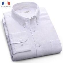LANGMENG 2017 Long Sleeve Men Dress Shirt New Fashion High Quality Solid Casual Shirts Mens Business Brand Clothing