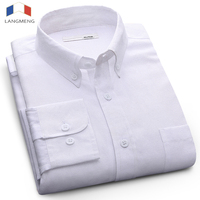 LANGMENG 2017 Long Sleeve Men Dress Shirt New Fashion High Quality Solid Casual Shirts Mens Business