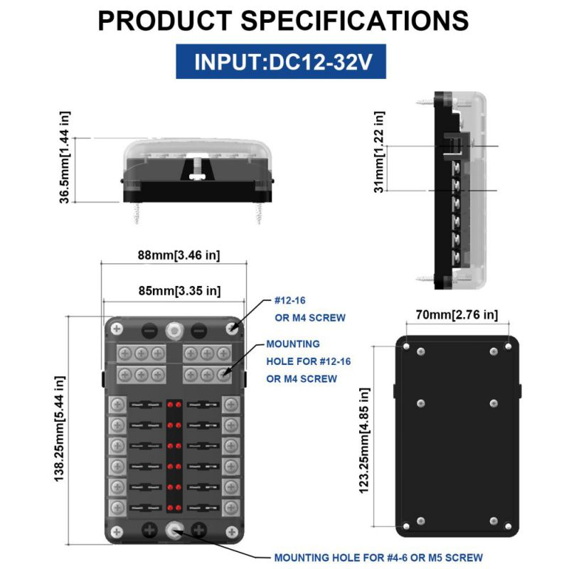 Indicateur LED IP56 étanche lame fusible support de la boîte bloc ATC ATO 12 voies 250 Amp accessoires de voiture 2018 nouveau