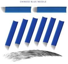 500Pcs Blau 14 16 18 21 U Form Tattoo Nadeln Microblading Klingen Für Semi Permanent Make-Up Manuelle Pen 3D augenbraue Stickerei