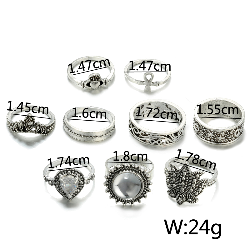 HuaTang Bohemian Antique Silver Ring Geometric Elephant Flower Green Rhinestone Knuckle Rings Midi Finger Anel Rings Jewelry 71