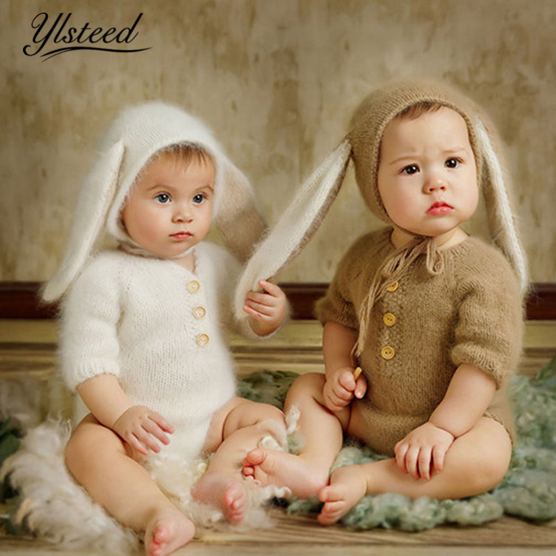 Ylsteed 2019 Baby Picture Outfits Cute Rabbit Ears Hat Crochet Soft Animal Style Baby Shooting Romper