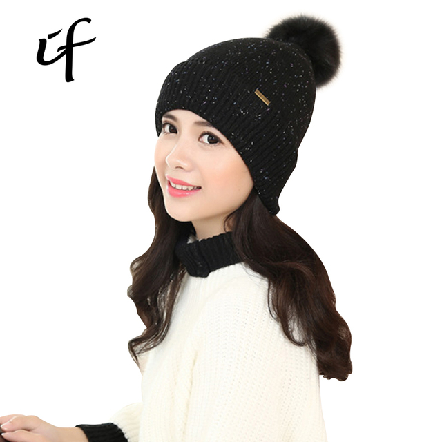 2016 Star Ornament Ball Thicken Warm Winter Autumn Spring Thermal Knitted Female Ear Hat For Women Girls knit Hats Caps Beanie