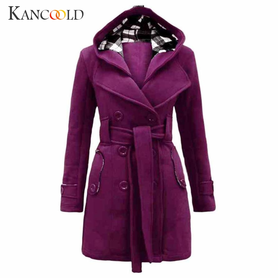 New 2017 Fashion Women Warm Winter Hooded Coat Long Section Military Coat Belt Double Breasted Jacket