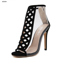 Women Fashion Ankle Boots Sexy High Heels Open Toe Transparent Party Shoes Booties Stiletto Pumps For
