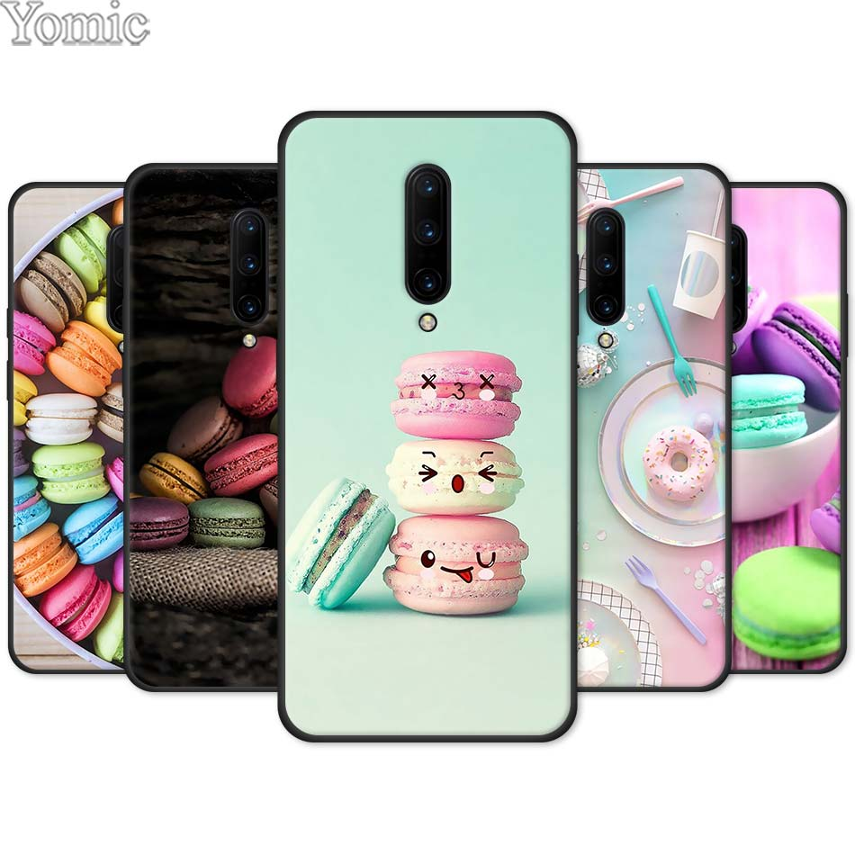 food for Macarons Biscuits Black Soft Case for font b Oneplus b font font b 7