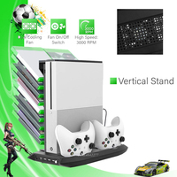4 in 1 Vertical Stand for Xbox one S 4 USB Ports Hub Cooler Cooling Fan Controller Charger Dock for Xbox one Slim Game Console