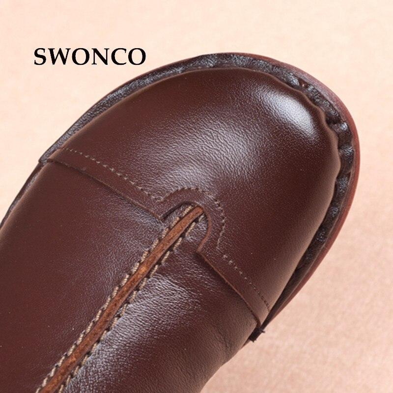 Las Zapatos Moda Mujer Mujeres Tobillo brown Cuero Damas Genuino Gruesa Arranque De Invierno Swonco Botas Black Felpa Para Costura wnZq0gtaP