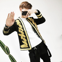 Freeship mens golden leaf embroidery black jacket club/stage performance/studio suit/asia size