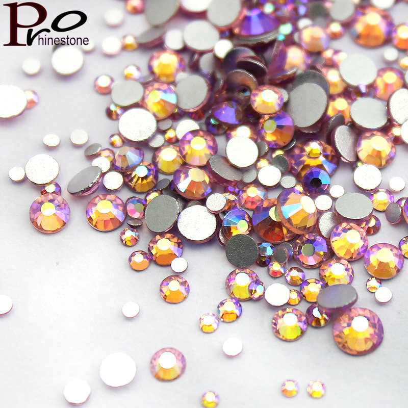 PinkAB Multi-size 1000pcs Glass Nail Rhinestones For Nails Art Decorations Crystals Strass Charms Partition Mix Size Rhinestone ss3 nail rhinestones decoration glass rhinestones for nails 3d nails art manicure strass nail art decorations cz60940